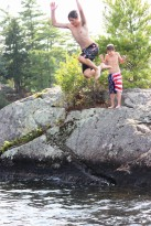 The Post boys jumping from the amazing rock off Moultonborough, NH