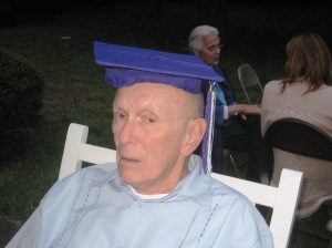 Dad at Adam's high school graduation dinner at our house; he was always a jokester