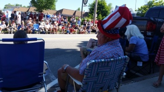 A spectacular town parade filled with red, white and blue